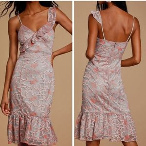 Lulu's grey coral lace midi dress large NWT